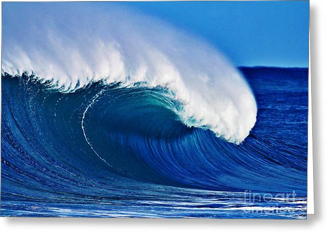 Shorebreak Greeting Cards - Big Blue Wave Greeting Card by Paul Topp