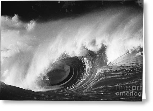 Vince Greeting Cards - Big Breaking Wave - BW Greeting Card by Vince Cavataio - Printscapes