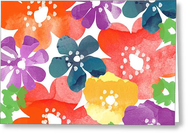 Big Bright Flowers Greeting Card by Linda Woods