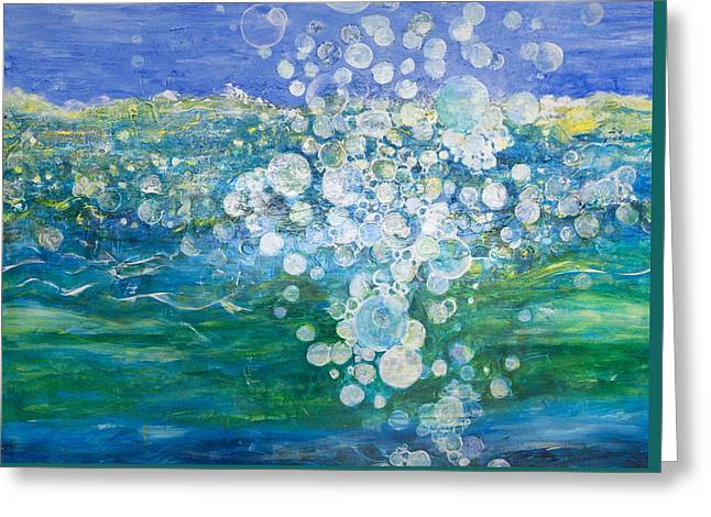 Bubbly Paintings Greeting Cards - Big Bubble Greeting Card by Margaret Coxall