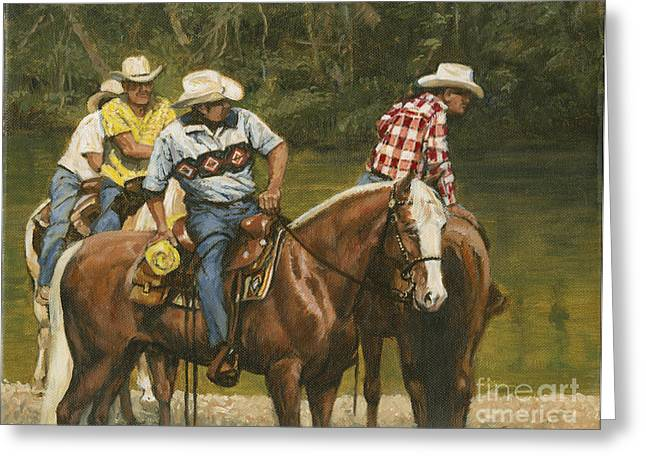 Trail Ride Greeting Cards - Big Creek - 4 Riders Greeting Card by Don  Langeneckert