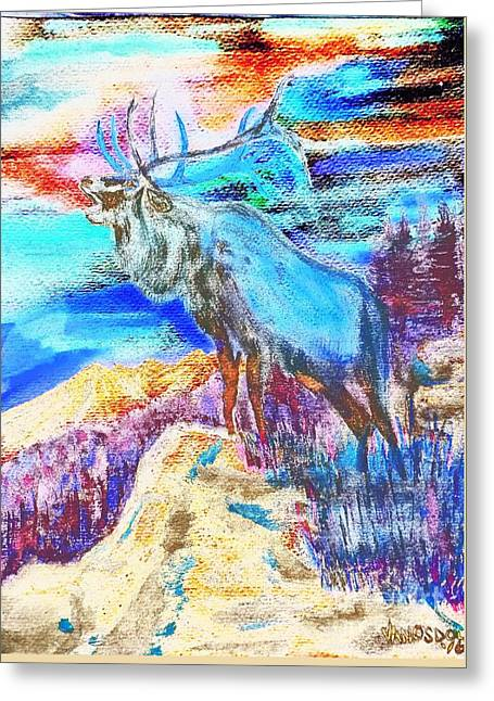 Big Elk Mountain - Colorful Abstract Greeting Card by Scott D Van Osdol