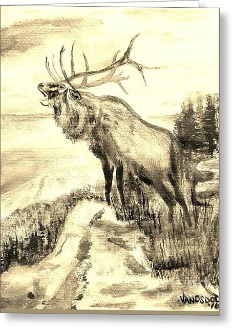 Big Elk Mountain - Sepia Greeting Card by Scott D Van Osdol