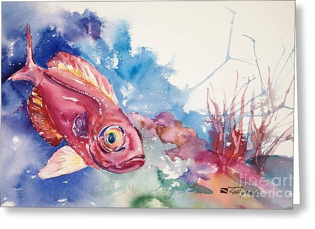 Underwater View Paintings Greeting Cards - Big Eye Squirrelfish Greeting Card by Tanya L Haynes - Printscapes