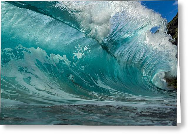 Blue Green Wave Greeting Cards - Awesome Shore Break Greeting Card by Chris and Wally Rivera