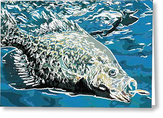 Wildife Paintings Greeting Cards - Big fish eats little fish Greeting Card by Lanjee Chee
