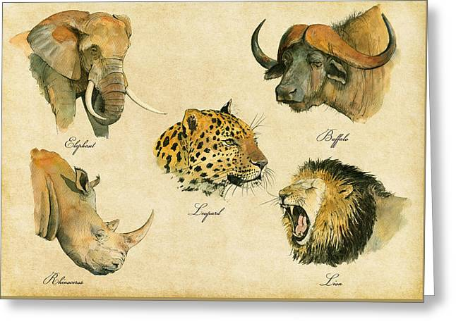 Safari Prints Greeting Cards - Big five poster Greeting Card by Juan  Bosco