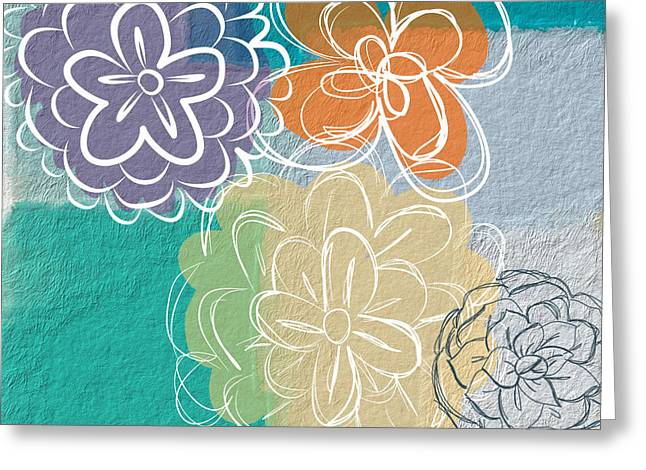 Abstract Flower Greeting Cards - Big Flowers Greeting Card by Linda Woods