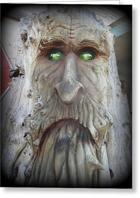 Marie Neder Greeting Cards - Big Foot with Green Eyes Greeting Card by Marie Neder