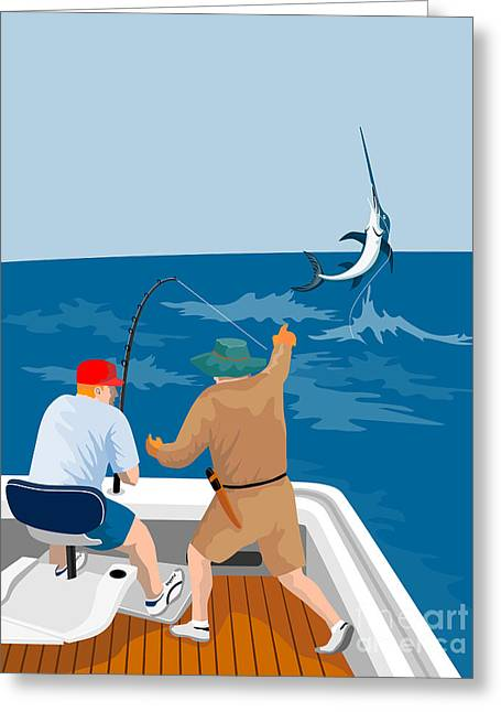 Swordfish Greeting Cards - Big Game Fishing Blue Marlin Greeting Card by Aloysius Patrimonio