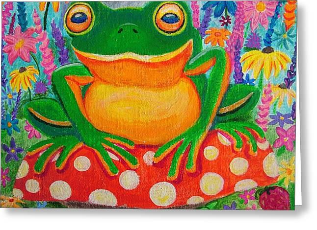 Big green frog on red mushroom Greeting Card by Nick Gustafson