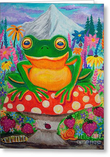 Green Frog Greeting Cards - Big green frog on red mushroom Greeting Card by Nick Gustafson