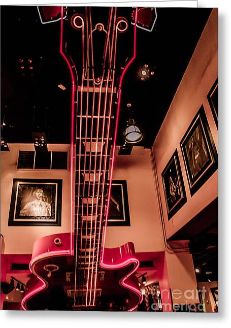 Occasion Greeting Cards - Big Guitar At New Yorks Hard Rock Cafe Greeting Card by  ILONA ANITA TIGGES - GOETZE  ART and Photography