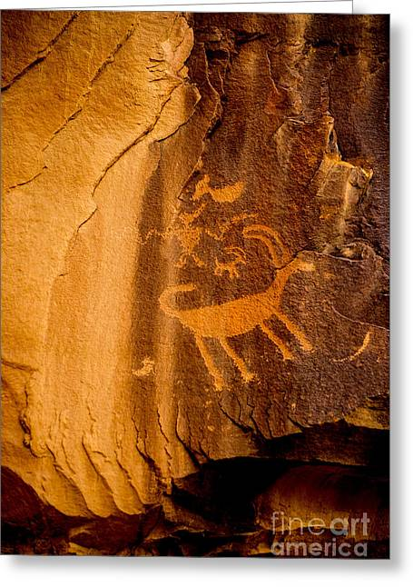 Shamanism Greeting Cards - Big Horn Sheep Petroglyph - Nine Mile Canyon - Utah Greeting Card by Gary Whitton