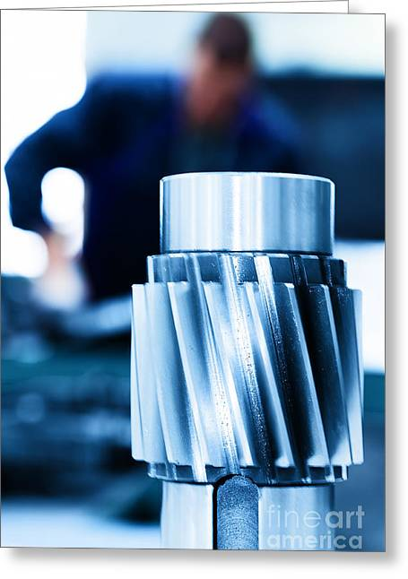 Cnc Greeting Cards - Big industrial element screw Greeting Card by Michal Bednarek