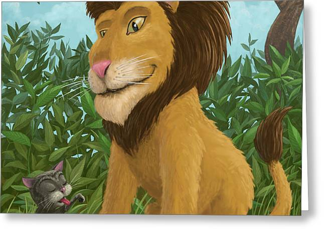 big lion small cat Greeting Card by Martin Davey