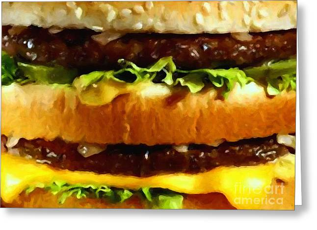 Cheeseburger Greeting Cards - Big Mac - Painterly Greeting Card by Wingsdomain Art and Photography