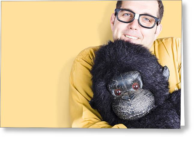 Big Male Goof Cuddling Toy Gorilla. Comfort Zone Greeting Card by Jorgo Photography - Wall Art Gallery