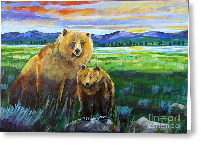Big Mama And Her Cub Greeting Card by Harriet Peck Taylor