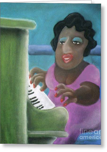Playing Pastels Greeting Cards - Big Mama Greeting Card by Caroline Peacock