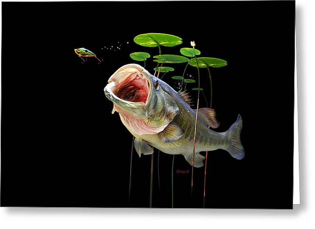 Bass Fish Mixed Media Greeting Cards - Largemouth Greeting Card by Gregory Doroshenko