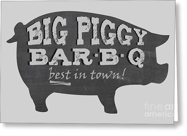 Piglets Greeting Cards - Big Piggy Bar B Q  Greeting Card by Priscilla Wolfe