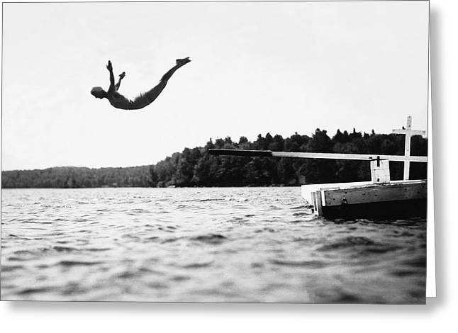 Big Pond Swan Dive Greeting Card by Underwood Archives