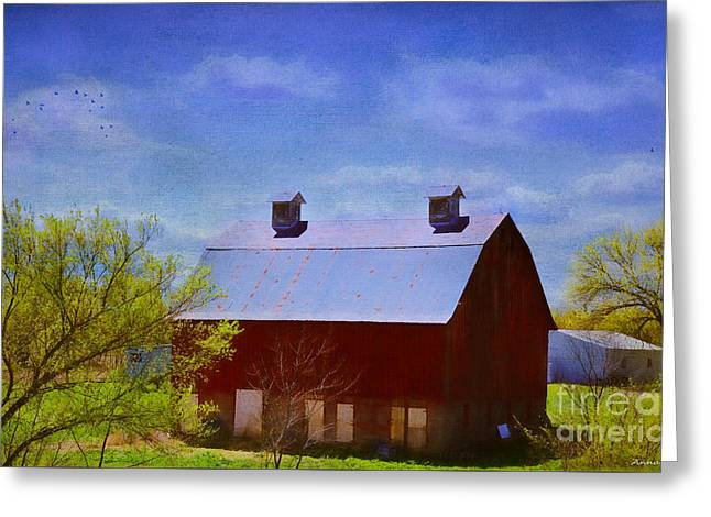 Old Barns Greeting Cards - Big Red Barn In Kansas Spring Greeting Card by Anna Surface