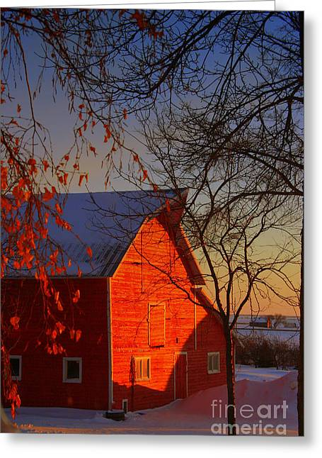 Red Barn Greeting Cards - Big red barn Greeting Card by Julie Lueders