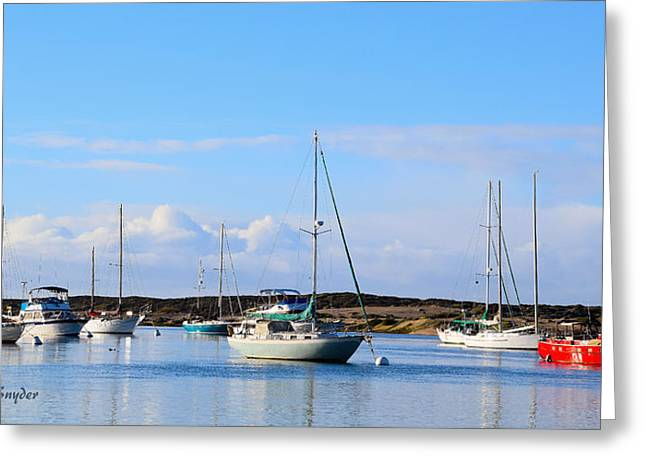 Big Red Boat Morro Bay Harbor Greeting Card by Barbara Snyder