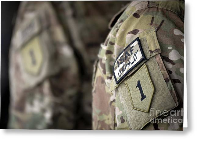 Big Red One Greeting Cards - Big Red One Patch On The Uniform Greeting Card by Stocktrek Images