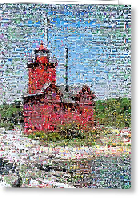Beach Photos Digital Greeting Cards - Big Red Photomosaic Greeting Card by Michelle Calkins