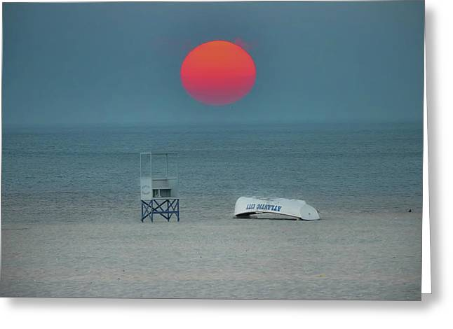 Big Red Sun - Atlantic City Greeting Card by Bill Cannon