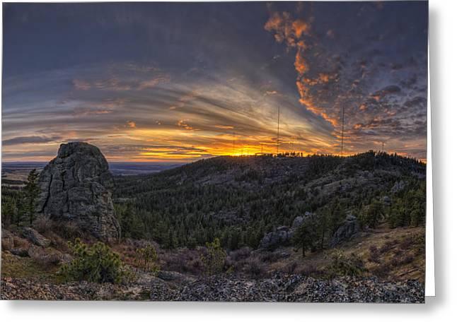 Big Rock Panorama Greeting Card by Mark Kiver
