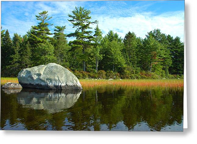 Maine Lake Greeting Cards - Big Rock Greeting Card by Robert Anschutz