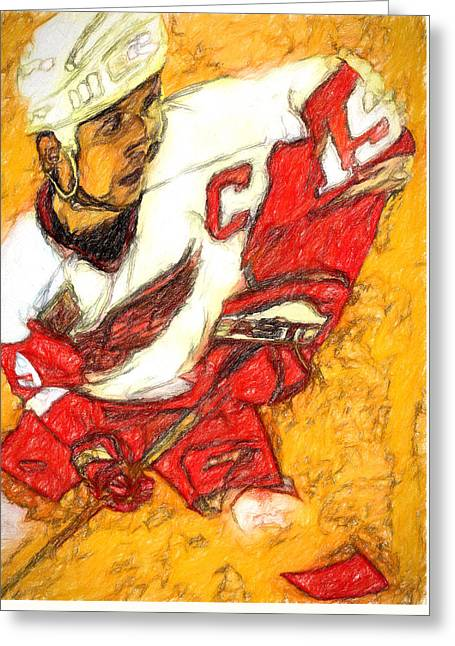 Yzerman Greeting Cards - Big Shoulders Yzerman Greeting Card by John Farr
