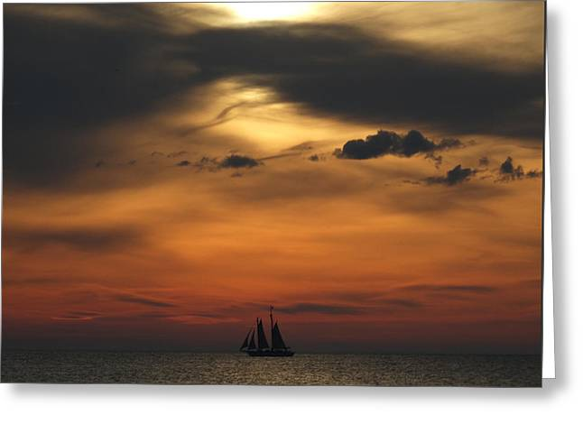 Tall Ship Greeting Cards - Big Sky Sunset Greeting Card by David T Wilkinson