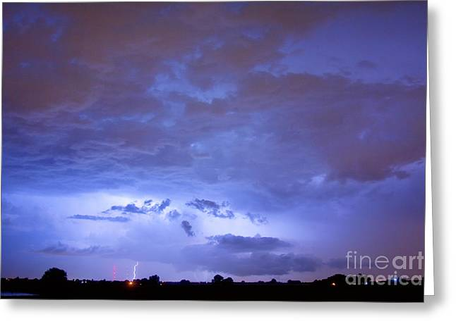 Big Sky With Small Lightning Strikes In The Distance Greeting Card by James BO  Insogna