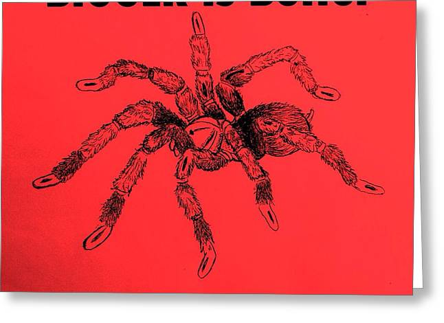 Wild Life Drawings Greeting Cards - Big Spider Greeting Card by Jacquelyn Coppernoll