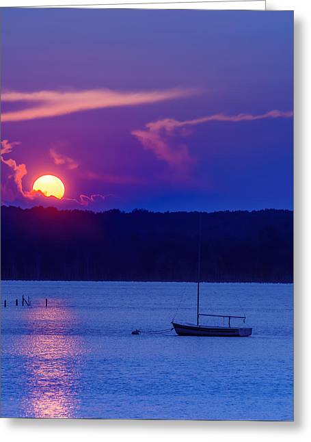 Blue Sailboats Greeting Cards - Big Sun Blue Greeting Card by Steven Maxx