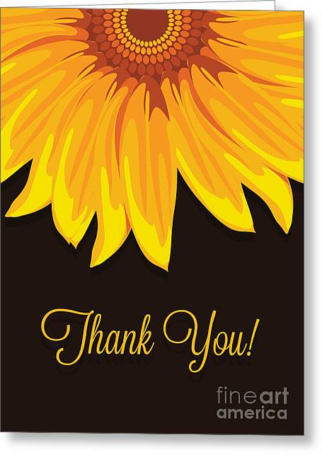 Special Occasion Greeting Cards - Big Sunflower Thank You Greeting Card by JH Designs