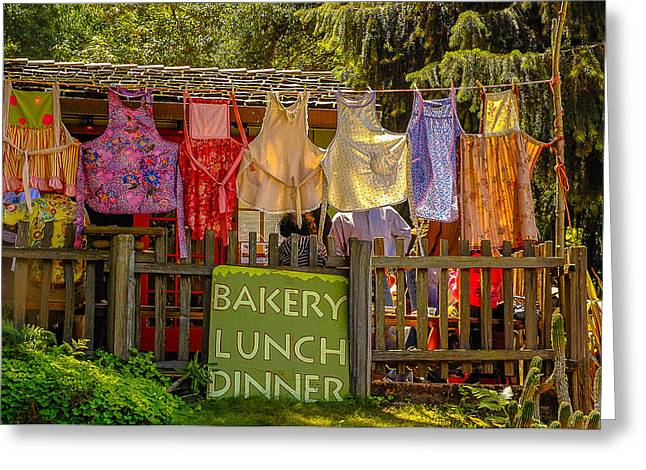 Big Sur Greeting Cards - Big Sur Bakery Aprons Greeting Card by Matt Daryl Ober