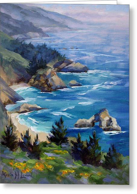 Sunny Coast, Big Sur Greeting Card by Karin  Leonard