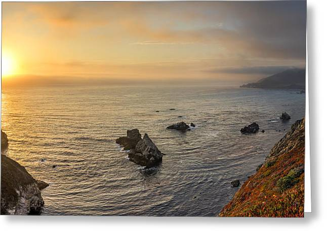 Big Sur Greeting Cards - Big Sur Coastline at Sunset Greeting Card by James Udall