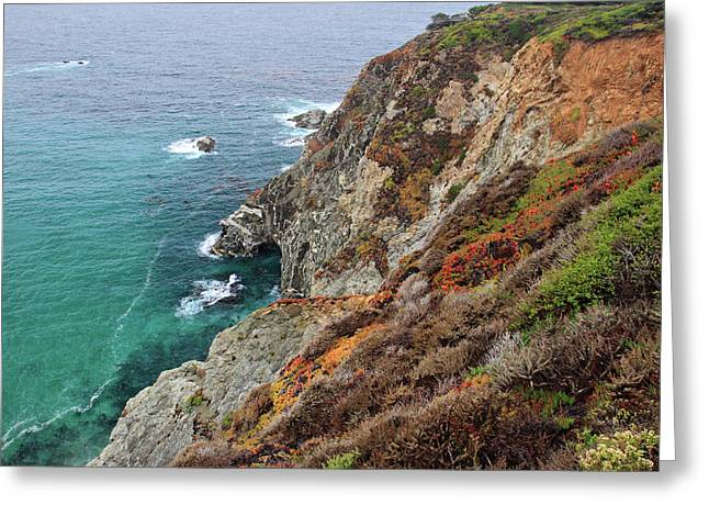Big Sur California Greeting Cards - Big Sur colorful sea cliffs Greeting Card by Pierre Leclerc Photography