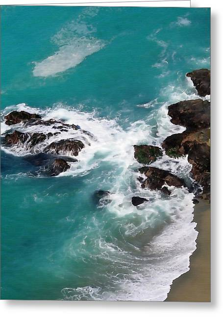 California Big Wave Surf Greeting Cards - Big Sur Foam Greeting Card by Art Block Collections