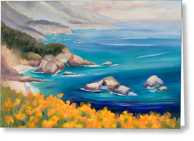 Big Sur Greeting Cards - Big Sur  Poppies Greeting Card by Karin  Leonard