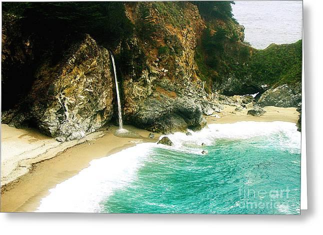 Pfeiffer Beach Greeting Cards - Big Sur Waterfall Greeting Card by Jerome Stumphauzer