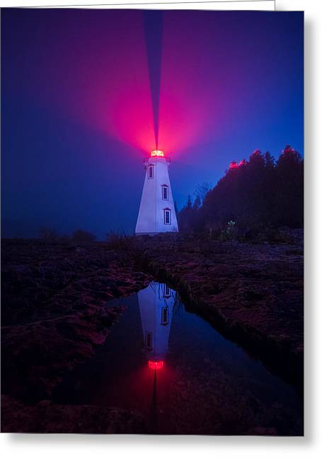 Vaction Greeting Cards - Big Tub Lighthouse Reflection Greeting Card by Cale Best