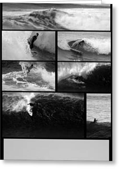 California Big Wave Surf Greeting Cards - Big Wave Surfing Hawaii to California Greeting Card by Brad Scott